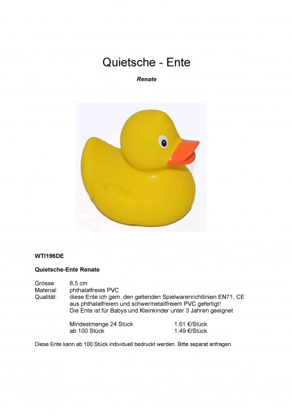 """Quietsche-Entchen """"Renate"""""""